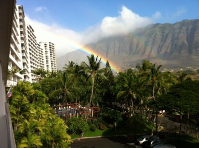 A view from the lanai of #713. The Ever-Present Rainbow over Makaha Valley.