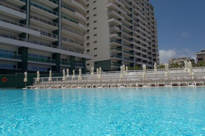 The large outdoor communal saltwater pool
