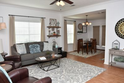 Spacious living room with attached kitchen/dining