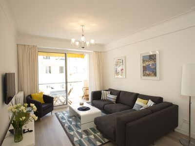 Photo for Luxury air-conditioned apartment in Carré d'Or, 200m from beach, 2 balconies