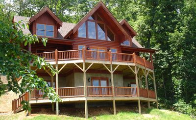 Photo for Secluded Log Home w/Breathtaking Views. Hot Tub. Fire Pit. Game Room. WiFi!