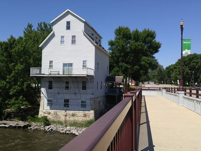 You'll view and hear the Shell Rock River. The street level is your unit.
