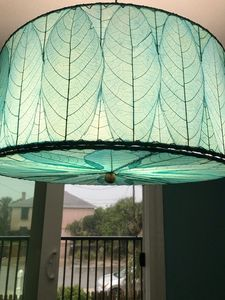 This is the cool light fixture made out of real leaves....over the dining table.