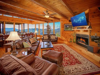 Photo for Large cabin with 3 decks, hot tub, game room, fireplaces, and free passes to local attractions