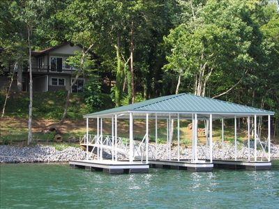 Photo for Lakeside Luxury Lakefront Chatuge  Lake Vacation Rental Home with Covered Dock.