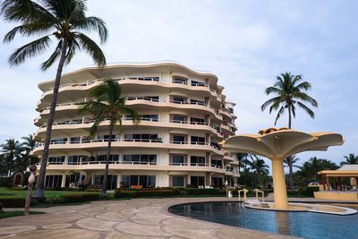Pool partial view and Condominium building