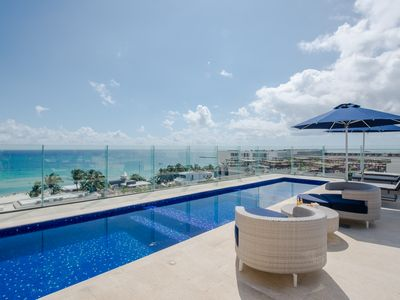 Photo for LOCATION! -1-bdr + JACUZZI - Rooftop with POOL & SEA VIEWS! Close to BEACH!