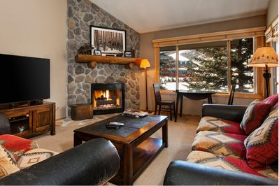Living Room - Welcome to Snow Flower Park! Turn on the fireplace on a chilly mountain night.