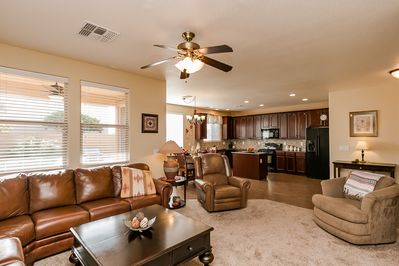 Wonderful inside living room area with an open concept to the kitchen