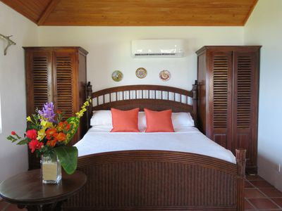 Beach House #1 king size bed with plush, luxury linens