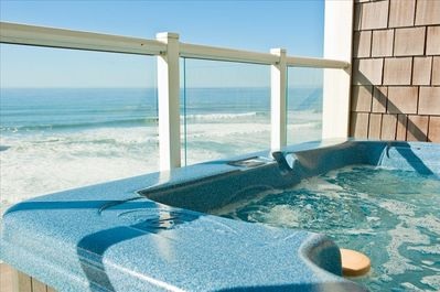 Relax in Your Private Hot Tub Watching the Tide Come In