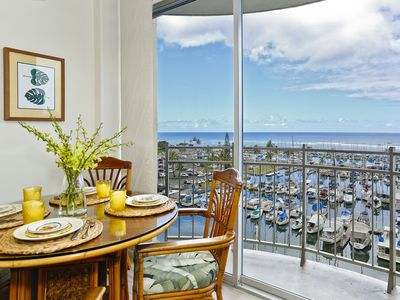 Photo for Ocean & yacht harbor views!  Walk to beach, shops, restaurants!  Sleeps 4.