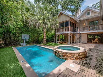 Photo for Spectacular private home, 2nd row with large pool, private yard, super close to beach!