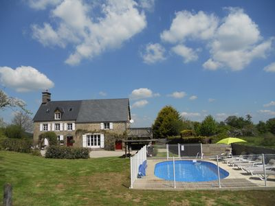 Photo for Beautiful normandy farmhouse, private grounds, heated pool,  fast internet