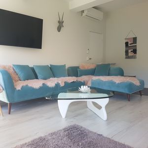2 stunning velvet turquoise chase lounge suits to seat 18 guests