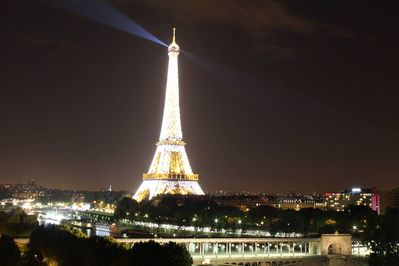 Eiffel Tower at night from the 550 square feet terrace