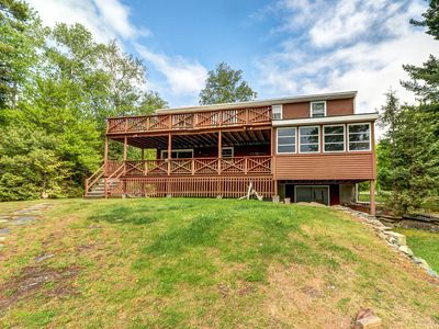 Photo for Lakefront cabin w/ lake views, private dock & entertainment. Great for families!