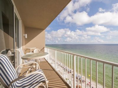 Photo for Spacious, beachfront condo w/shared gym, sauna, hot tub, pools, and BBQ area