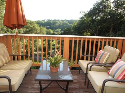 Lovely peaceful private deck from studio overlooking valley with oak trees
