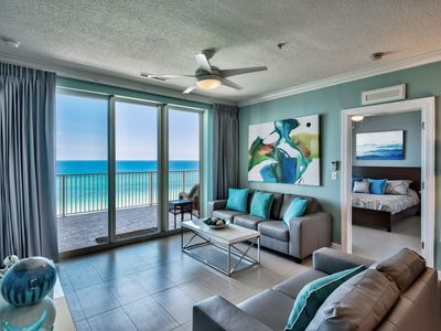 Photo for Platinum level Gulf front end unit. TWO MBRs on huge balcony! Free beach service