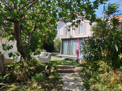 Photo for Beautiful apartment in ground floor of villa + garden at 100 m beach and trade