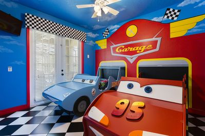 Cars themed room - two twin beds, located on the first floor