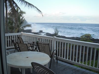 Plenty of seating on the deck to enjoy ocean views to California and surf.