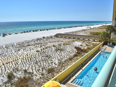Photo for Beautiful 3rd floor condo! The views are breathtaking with beach service!!