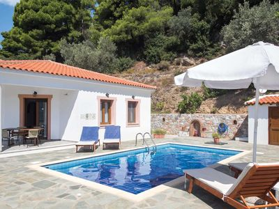 Photo for Villa w/ stunning sea vistas + outdoor BBQ area, short drive to Skopelos town