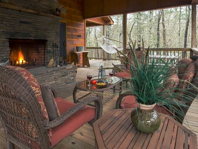 Photo for Cozy cabin near the river features private hot tub, free WiFi, & great location!