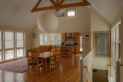 1,000 sq feet of open living space.  Loft above living area with desk and bed.