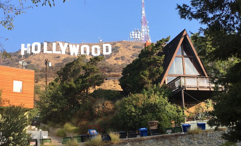 A-Frame under the HOLLYWOOD sign