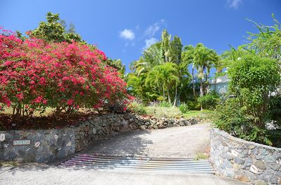 The lushly landscaped entrance to Plumeria