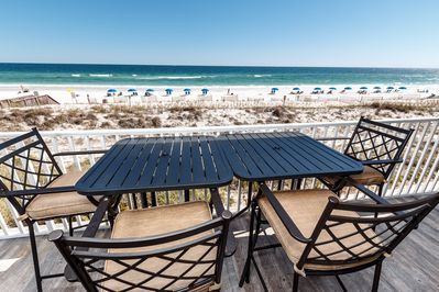 2017 BRAND NEW BISTRO HEIGHT BALCONY FURNITURE - The long balcony extends from the living area to the master bedroom and can be accessed from both.  This is a great second-story view of the natural lanscaping of the sea oats behind the sand dunes.