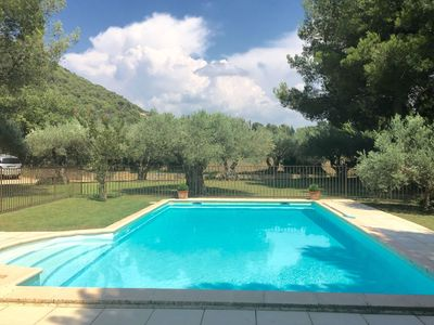 Photo for Nice house with garden, private pool, summer kitchen and view of Mont Ventoux