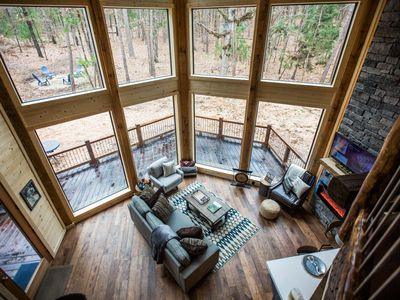 Photo for 1Forest1 Romantic, Luxurious Couples Cabin; Loft; Hot Tub; Fire Place; Fire Pit