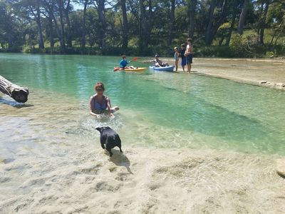 Crystal clear Blanco River with plenty of fun for all ages.