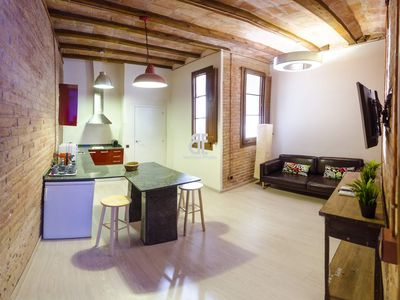 Photo for Homes In Blue - Apartment with 2 bedrooms and 2 bathrooms with capacity for 5 people located in the heart of the Eixample district of Barcelona