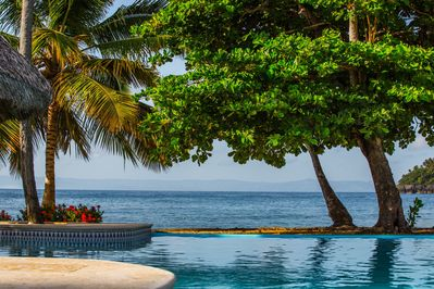 View from the pool looking toward our beach and the Samana Bay