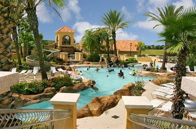 Waterpark Resort with waterslide, lazy river, spa, golf and more!