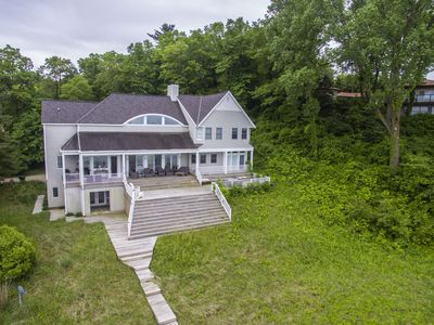 Photo for Dog friendly lakefront house that sleeps 14 - amazing Lake Michigan views