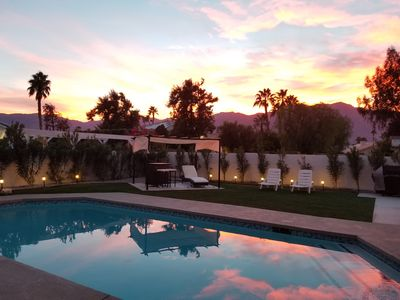 Photo for Resort like saltwater pool home in the desert with mountain views