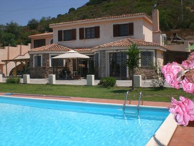 View from pool towards the house