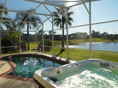 Photo for Near Disney  - 2 Master King, Pool, Hot Tub, Games, Deck Overlooking Lake!