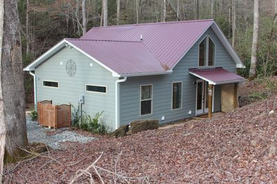 Two bedroom, two bath home in a creek side forest setting.