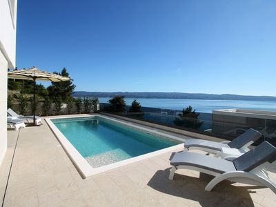 Photo for Beach villa with view in Omis Croatia, Holiday Villa in Croatia on t he Beach with pool