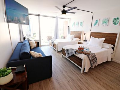 Photo for 8 GUESTS! 2 side-by-side units in Heart of Waikiki_2 FREE Parking stalls! WIFI!!