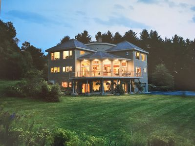 North facing image of Meadow & Fern Estate. Lower level Kiva Suite & large deck