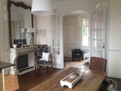 Photo for La Roseraie: large 2-room apartment with 200 sq.m garden in the heart of Honfleur