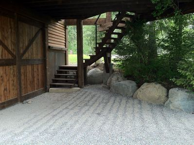 Private covered parking area and entrance